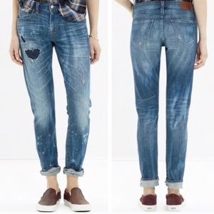 Madewell | Distressed Patched Slim Boy Jeans 25